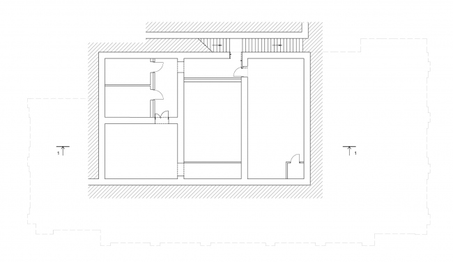 Реставрация дома Сытина. План -1 этажа на отм. -3.730 © Гинзбург Архитектс