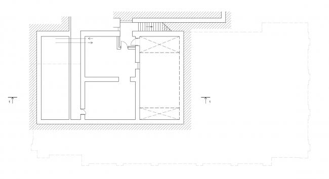 Реставрация дома Сытина. План – 2 этажа на отм. -7.080 © Гинзбург Архитектс