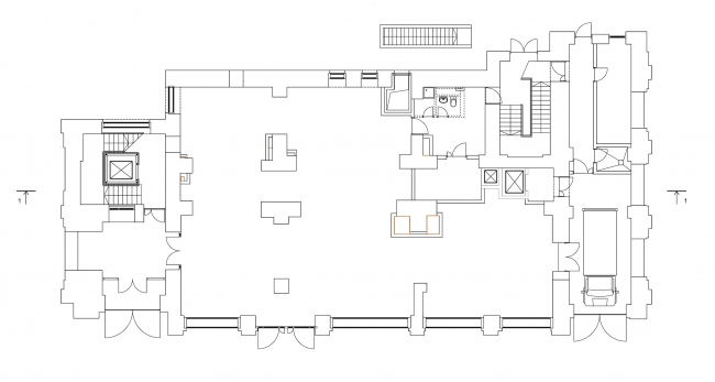 Реставрация дома Сытина. План 1 этажа на отм. 0.000 © Гинзбург Архитектс