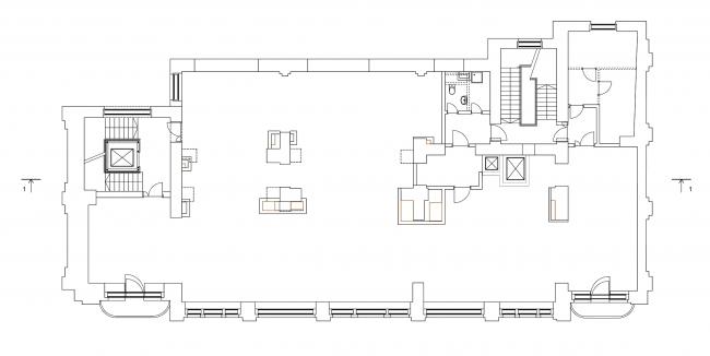 Реставрация дома Сытина. План 2 этажа на отм. +5.107 © Гинзбург Архитектс