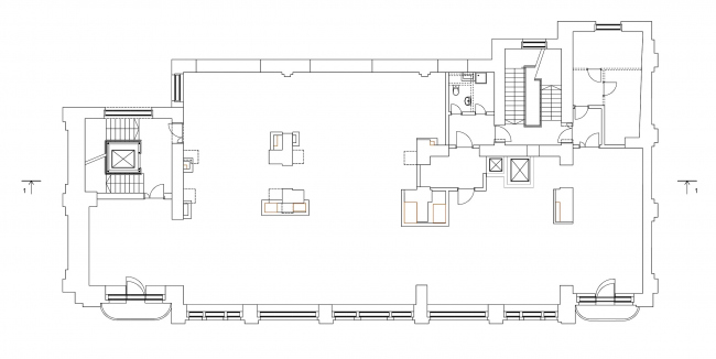 Restoration of the Sytin house. Plan of the 2nd floor at mark +5.107 © Ginsburg Architects