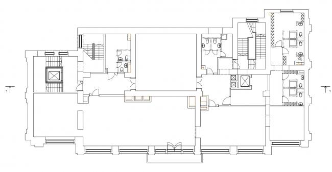 Реставрация дома Сытина. План 3 этажа на отм. +10.433 © Гинзбург Архитектс