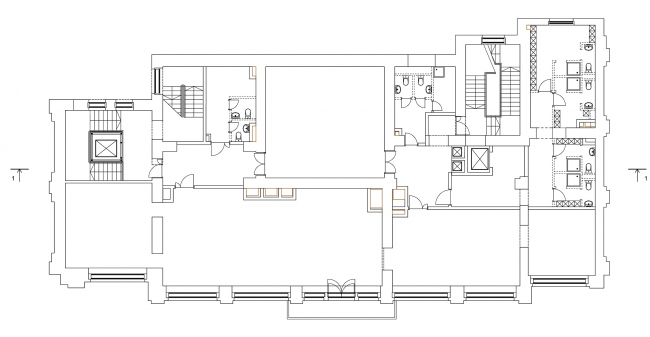 Restoration of the Sytin house. Plan of the 3rd floor at mark +10.433 © Ginsburg Architects