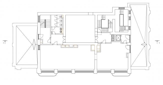 Реставрация дома Сытина. План 4 этажа на отм. +15.242 © Гинзбург Архитектс
