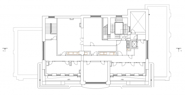 Restoration of the Sytin house. Plan of the 5th floor at mark +20.542 © Ginsburg Architects