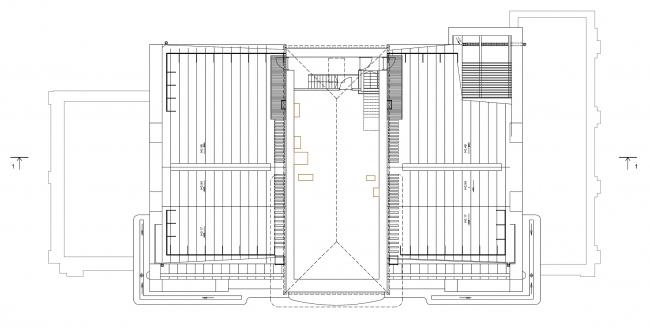 Реставрация дома Сытина. План технического этажа на отм. +26.260 © Гинзбург Архитектс
