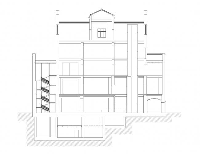 Реставрация дома Сытина. Разрез 1-1 © Гинзбург Архитектс