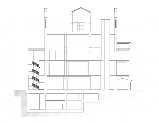 Restoration of the Sytin house. Section 1-1 © Ginsburg Architects