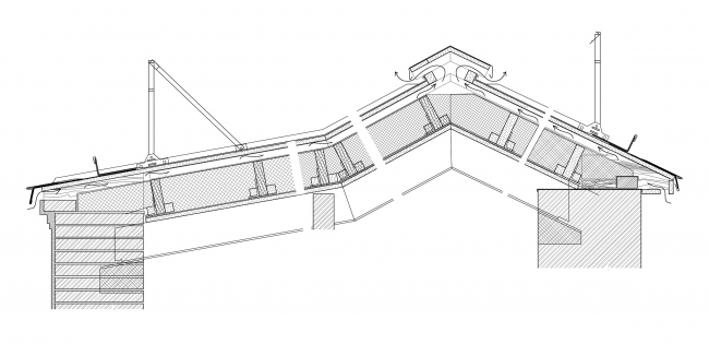Реставрация дома Сытина. Сечение по кровле © Гинзбург Архитектс