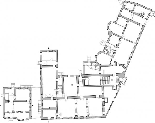 Restoration of the Dolgorukovykh-Bobrinskikh manor house on the Malaya Dmitrovka Street. Plan of the 1st floor © Ginsburg Architects