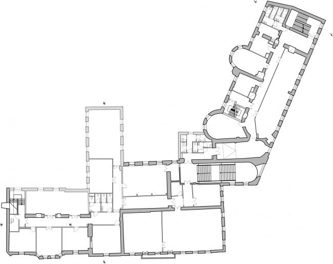 Restoration of the Dolgorukovykh-Bobrinskikh manor house on the Malaya Dmitrovka Street. Plan of the 2nd floor © Ginsburg Architects