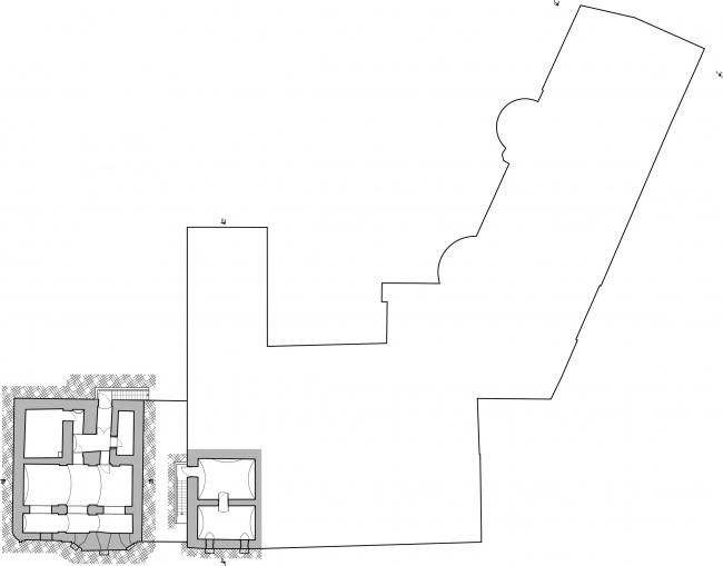 Restoration of the Dolgorukovykh-Bobrinskikh manor house on the Malaya Dmitrovka Street. Plan of the basement © Ginsburg Architects
