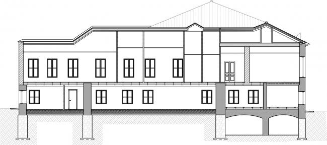 Restoration of the Dolgorukovykh-Bobrinskikh manor house on the Malaya Dmitrovka Street. Section E-E © Ginsburg Architects