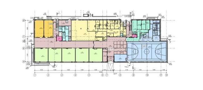 Школа на ул. Болотниковская. План 1 этажа © Терра Аури. Предоставлено пресс-службой «Москомархитектуры»