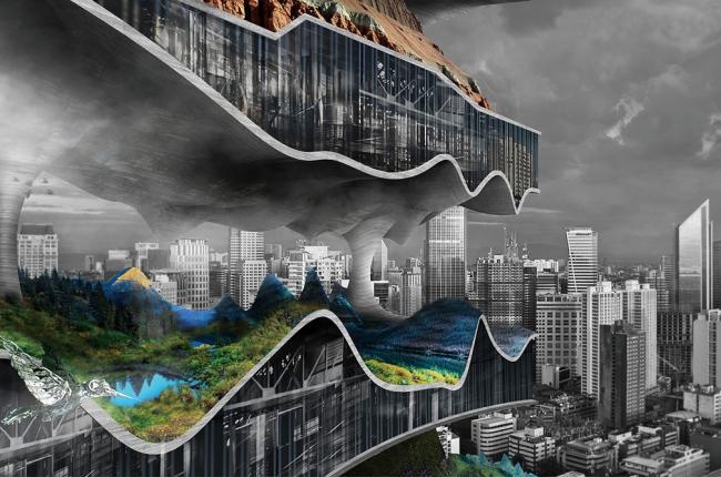 Проект «Вертикальные фабрики для мегаполисов». Авторы: Тяньшу Лю и Линшень Се (США). Изображение © eVolo