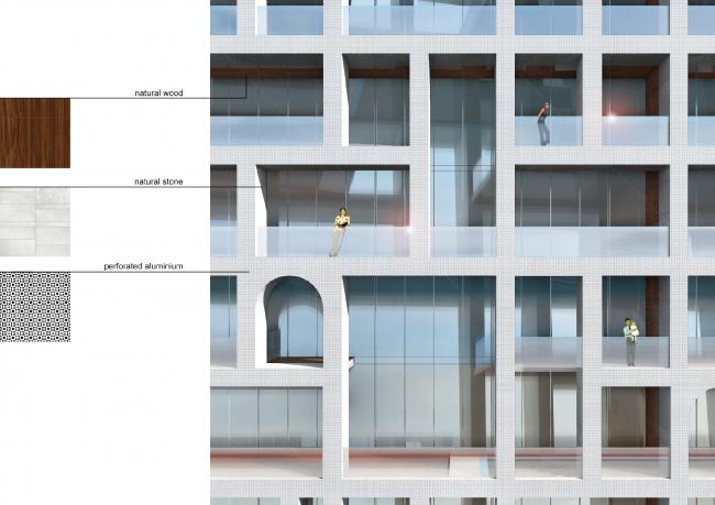Проект PalmJumairahCommunity. Фрагмент фасада © «ГрандПроектСити»