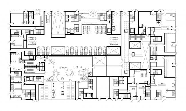 Жилой комплекс  «ASTRA». План 1 этажа © SYNCHROTECTURE