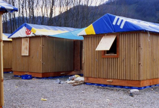 Paper Log House in Turkey, 2000. Photo by Shigeru Ban Architects