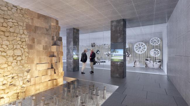 Подземный музей археологии Зарядья. Интерьер со стеной и витринами © Юрий Аввакумов, Георгий Солопов