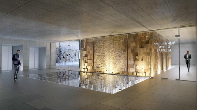 Подземный музей археологии Зарядья. Проект. Вид со стороны аванзала © Юрий Аввакумов, Георгий Солопов