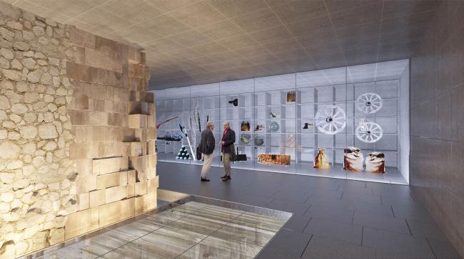 Подземный музей археологии Зарядья. Проект. Интерьер со стеной и витриной-депозитарием © Юрий Аввакумов, Георгий Солопов