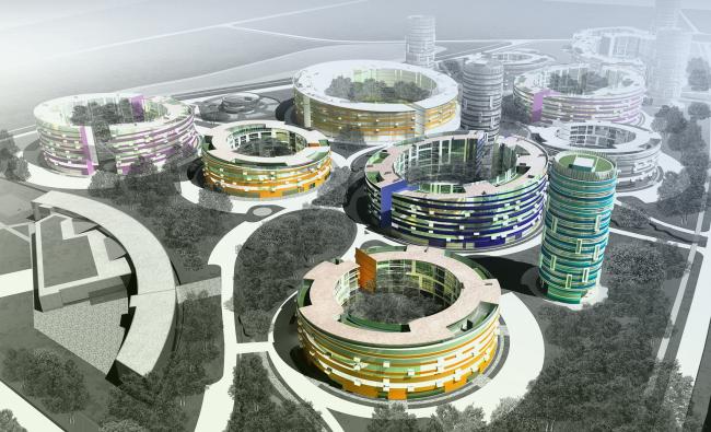 Общий вид квартала с высоты птичьего полета. 3-D визуализация