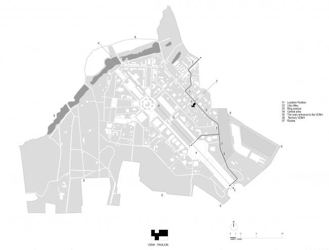 Павильон Департамента Информационных технологий на ВДНХ. Ситуационный план © WALL