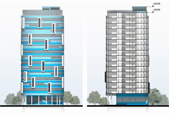 Фасад и разрез Дома-башни
