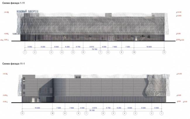 Ледовый дворец в Солнцево © ООО «Тектон».  Схема фасада. Предоставлено пресс-службой «Москомархитектуры»