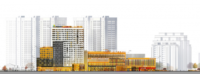 """Multifunctional complex """"Five Stars"""". Facade as seen from the """"Sports"""" park © A.Len"""