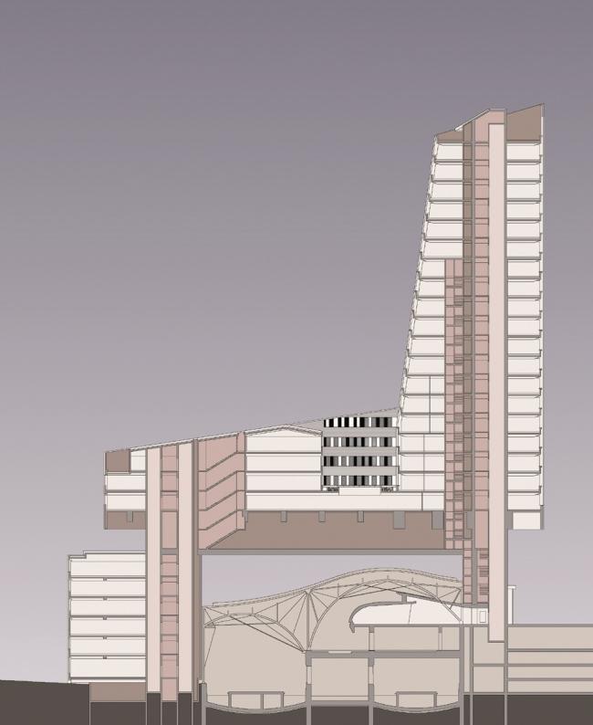 Башня Tour de Lille. Разрез © Atelier Christian de Portzamparc