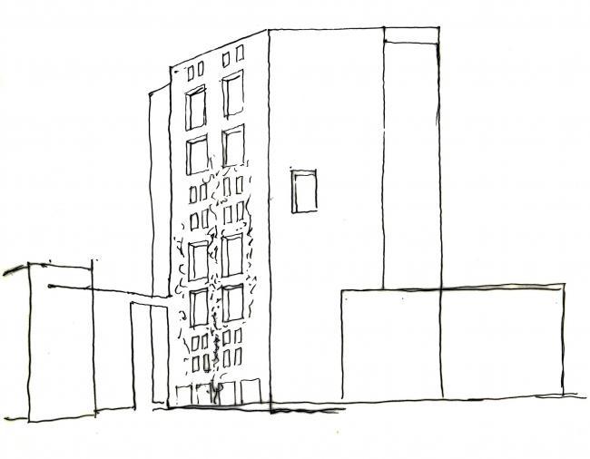 Застройка улицы От-Форм в Париже. Эскиз © Atelier Christian de Portzamparc