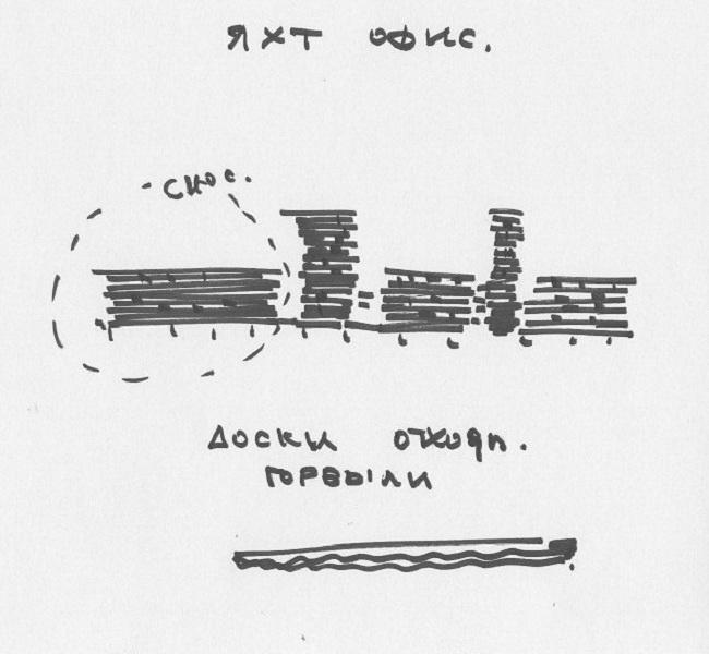 Яхт-офис v1. Эскиз © Архитектурная мастерская Тотана Кузембаева
