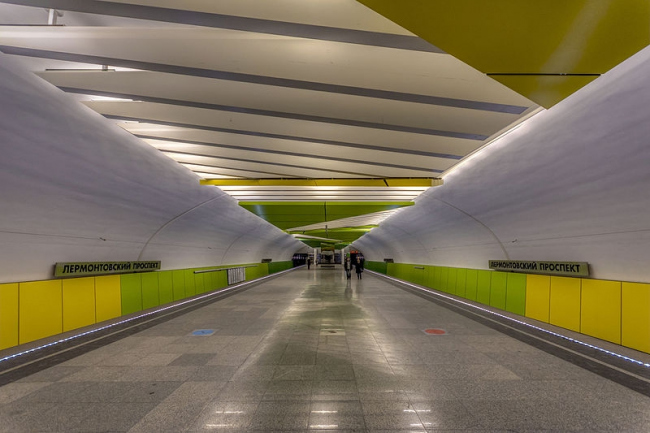 Станция метро «Лермонтовский проспект». Фото: Alex ′Florstein′ Fedorov via Wikimedia Commons. Лицензия CC BY-SA 4.0