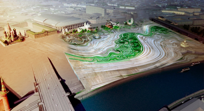 Альтернативный проект парка Зарядье, диплом Павла Зельдовича в Венском институте прикладных искусств