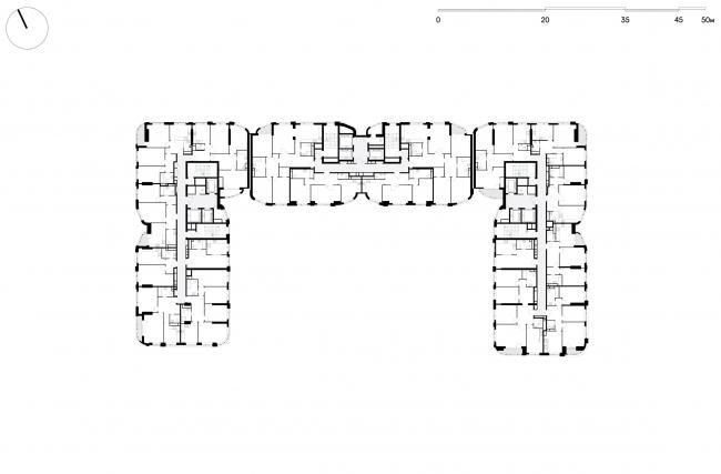 Жилой комплекс «Символ» (очередь 1б). План жилого этажа. Корпус №33 © ATRIUM
