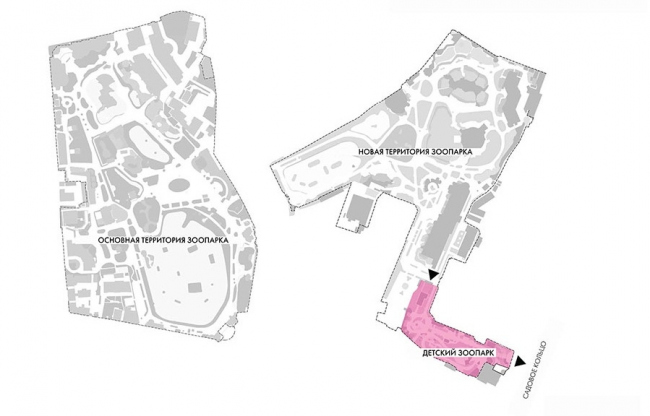 The children′s zone of the Moscow Zoo. The simplified master plan