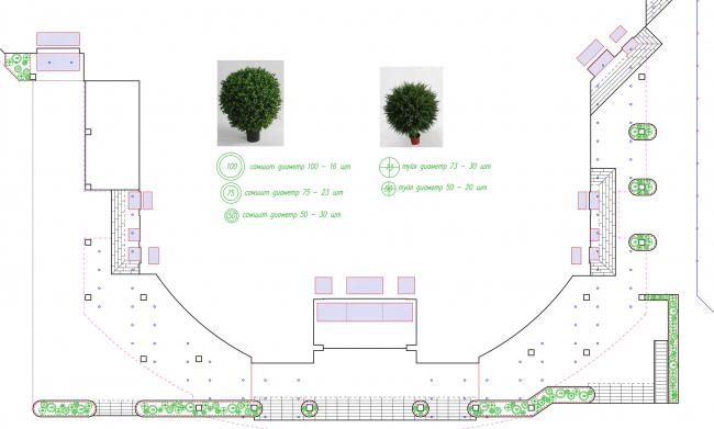 ТЦ Crystals. План благоустройства и озеленения © Weiss Design