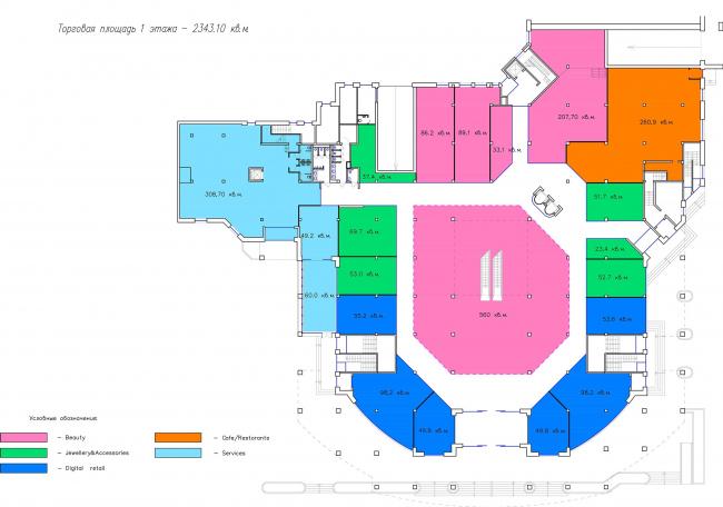 ТЦ Crystals. План 1 этажа © Weiss Design