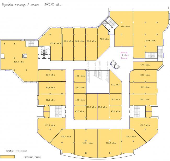 ТЦ Crystals. План 2 этажа © Weiss Design