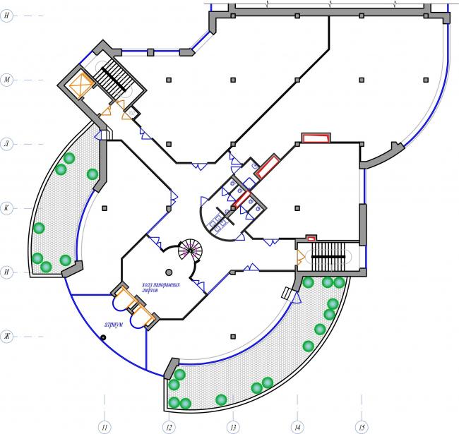 ТЦ Crystals. План офисного этажа © Weiss Design