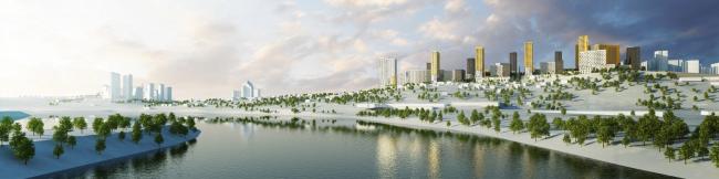 Конкурсный проект жилого квартала в Уфе © Архитектурное бюро «А.Лен»