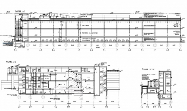 Офисно-гостиничный комплекс в Сосенском. Схема разрезов © Архитектурное бюро Тимура Башкаева. Предоставлено пресс-службой «Москомархитектуры»
