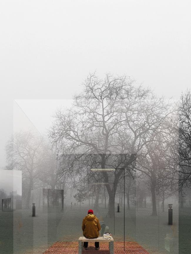 Конкурсный проект библиотеки в Гайд-парке. Авторы: Мириана Костова, Бернд Бартош Ян Вроблевский, Даниэль Лехлер (Miriana Kostova, Bernd Bartosz Jan Wroblewski, Daniel Lechler), Германия
