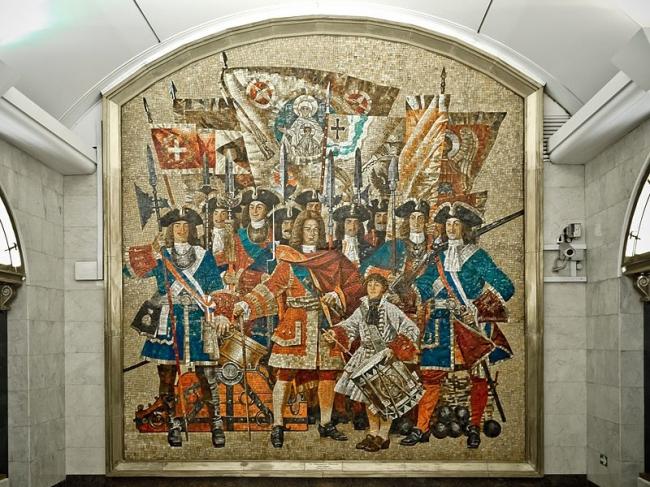 Станция метро «Звенигородская». Мозаичное панно «Семёновский полк». Фото: Фото: Florstein via Wikimedia Commons. Лицензия CC BY-SA 3.0