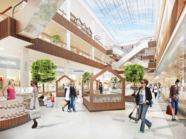 """Renovation of the """"Fifth Avenue"""" shopping center. Interior of the atrium © Blank Architects"""