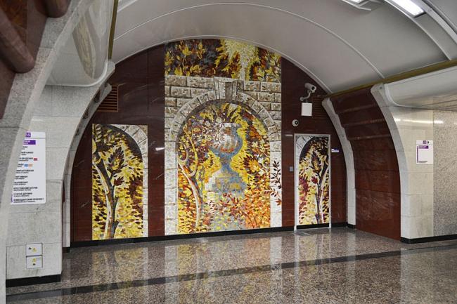 Станция метро «Бухарестская». Мозаичное панно. Фото: Степанов К.А. via Wikimedia Commons. Лицензия CC BY-SA 3.0