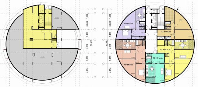 План 1 и типового этажа Дома-башни