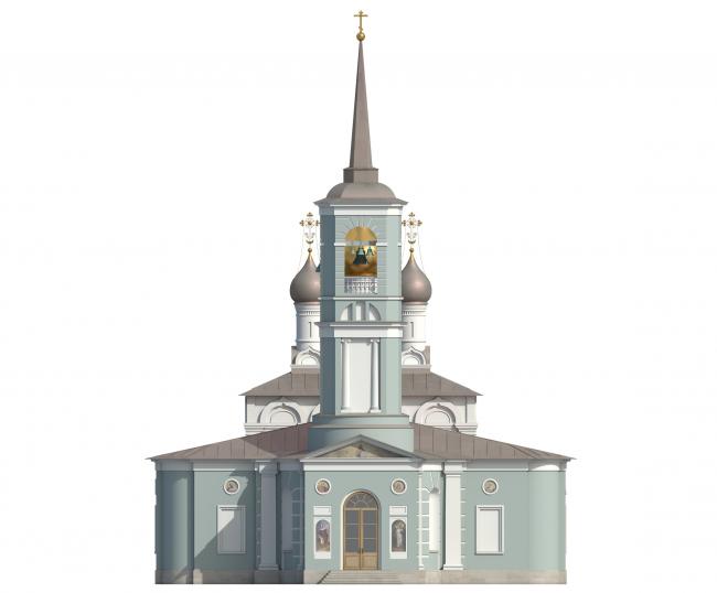 Церковь Воскресения Христова на Остоженке. Западный фасад. Вариант 2017 года © Алексей Котов