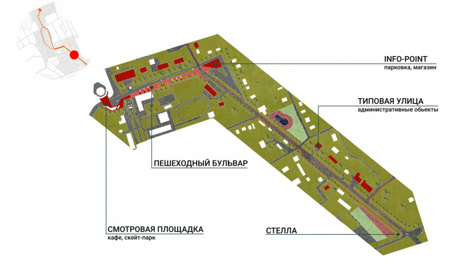Improvement project of Staroe Drozhanoe. The old town center © UNK project